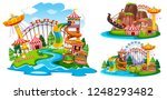 set of isolated theme park | Shutterstock .eps vector #1248293482