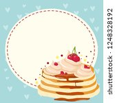 pancakes with cream or cake for ... | Shutterstock .eps vector #1248328192