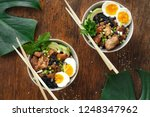 asian food concept. two poke... | Shutterstock . vector #1248347962