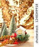 toy pig and winter decor ... | Shutterstock . vector #1248349918