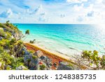 paradise scenery of tulum at... | Shutterstock . vector #1248385735
