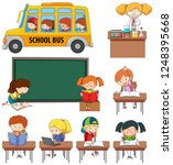 set of doodle kids learning... | Shutterstock .eps vector #1248395668