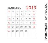 calendar january 2019 year in... | Shutterstock .eps vector #1248409522