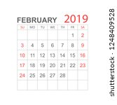 calendar february 2019 year in... | Shutterstock .eps vector #1248409528