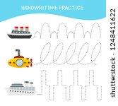 handwriting practice sheet.... | Shutterstock .eps vector #1248411622