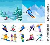 set vector sportive people... | Shutterstock .eps vector #1248420058