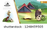 realistic summer camping... | Shutterstock .eps vector #1248459505
