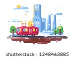 retro tram on cityscape... | Shutterstock .eps vector #1248463885