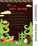 baby shower. forest friends.... | Shutterstock .eps vector #124846402