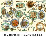 thai food background  hand... | Shutterstock .eps vector #1248465565