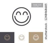 smile icon outline style...