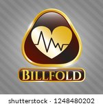 gold emblem with heart with... | Shutterstock .eps vector #1248480202