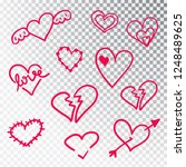 hearts hand drawn set isolated. ... | Shutterstock .eps vector #1248489625