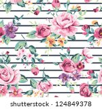 vintage tropical flower pattern ... | Shutterstock .eps vector #124849378