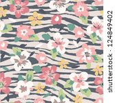 cute flower mix zebra seamless... | Shutterstock .eps vector #124849402