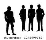 silhouette of men on the... | Shutterstock . vector #1248499162