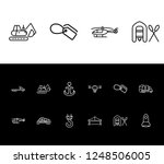 cargo icon set and digger with...