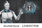 white robot clicking on the... | Shutterstock . vector #1248507508
