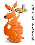 kangaroo with a tray of food.... | Shutterstock . vector #124852036