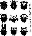 Stock vector set of funny black animals 124854178
