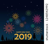 happy new year greeting card.... | Shutterstock .eps vector #1248542992