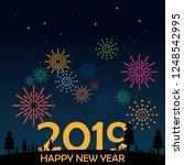 happy new year greeting card.... | Shutterstock .eps vector #1248542995
