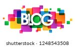 blog banner on colorful squares ... | Shutterstock .eps vector #1248543508