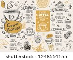 christmas menu. restaurant menu. | Shutterstock .eps vector #1248554155