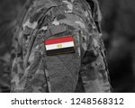 flag of egypt on soldiers arm....   Shutterstock . vector #1248568312