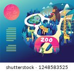zoo colorful illustration in...