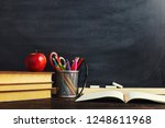 teacher's desk with writing... | Shutterstock . vector #1248611968