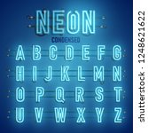 realistic neon font with wires... | Shutterstock .eps vector #1248621622