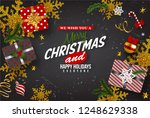 christmas postcard with vintage ... | Shutterstock .eps vector #1248629338