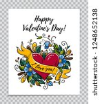 happy valentines day card with... | Shutterstock .eps vector #1248652138