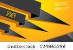 abstract glossy black origami... | Shutterstock .eps vector #124865296