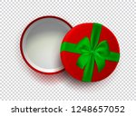 opened red empty gift box with... | Shutterstock . vector #1248657052