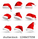 set of red santa claus hats... | Shutterstock . vector #1248657058