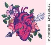 blooming broken human heart.... | Shutterstock .eps vector #1248668182