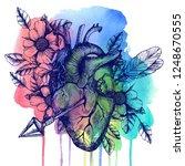 blooming broken human heart.... | Shutterstock . vector #1248670555