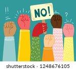 multiracial fists hands up...   Shutterstock .eps vector #1248676105