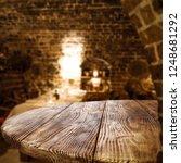 Table Background Dark Interior Restaurant - Fine Art prints