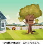 tree house on the backyard of a ... | Shutterstock .eps vector #1248706378