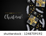 merry christmas card  gold... | Shutterstock .eps vector #1248709192