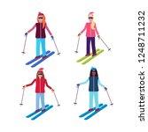 set women skiing sport... | Shutterstock .eps vector #1248711232