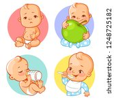 set of baby stickers  emoji.... | Shutterstock .eps vector #1248725182