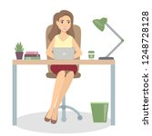 woman at office sitting at the... | Shutterstock . vector #1248728128