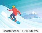 snowboarding. vector... | Shutterstock .eps vector #1248739492