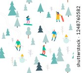skiing seamless pattern with... | Shutterstock .eps vector #1248760582