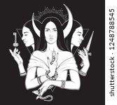 triple lunar goddess hecate... | Shutterstock .eps vector #1248788545