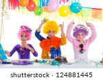 children happy birthday party... | Shutterstock . vector #124881445